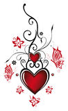 Hearts with flowers. Valentines day decoration, Hearts with flowers and butterflies Royalty Free Stock Images