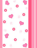 Hearts and flowers - Vector. Pink hearts and flowers with stripes design royalty free illustration
