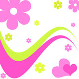 Hearts and flowers - Vector. Funky pink hearts and flowers design vector illustration