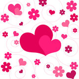 Hearts and flowers - Vector. Funky pink hearts and flowers design Stock Images