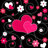 Hearts and flowers - Vector. Funky pink hearts and flowers design Stock Photo