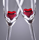Hearts on Flutes Royalty Free Stock Images