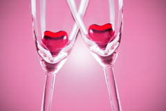 Hearts on Flutes Stock Photo