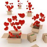 Hearts flying out of boxes. 3d render illustration on white background Royalty Free Stock Photography