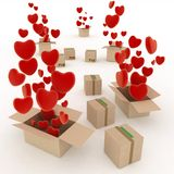 Hearts flying out of boxes Royalty Free Stock Images