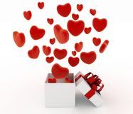 Hearts flying out of gift box Stock Images