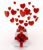 Hearts flying out of gift box Royalty Free Stock Image