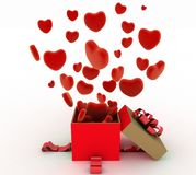 Hearts flying out of gift box Stock Photos