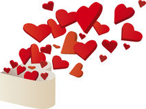 Hearts flying out Royalty Free Stock Images