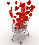 Hearts flying in supermarket trolley Stock Photo