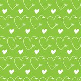 Hearts in form of arrows seamless green vector backgrounds for Valentine`s Day. nature Romantic illustration for wallpaper, wrapp. Hearts in form of arrows royalty free illustration