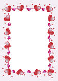 Hearts frame. A frame with many hearts useful also greeting card,invitation-card or label. EPS file available Stock Photos