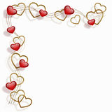 Hearts in a frame. Red and golden hearts in a frame Royalty Free Stock Photography