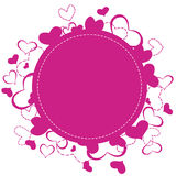 Hearts frame. Pink round frame with an hearts cascade. Suitable for your love cards and logos. Isolated on white background. Vector Stock Image