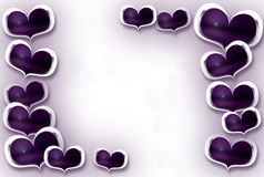 Hearts Frame. Violets hearts around - you fill in your text Royalty Free Stock Images