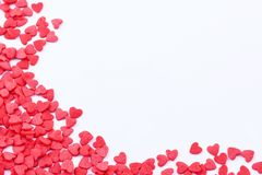 Hearts frame. Frame made of small red hearts on the white background Royalty Free Stock Images