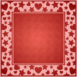 Hearts Frame. Red abstract Valentine background-Valentines theme stock illustration