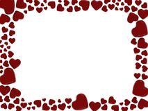 Hearts frame. Manny red heart`s on white background-beautiful Royalty Free Stock Image
