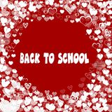 Hearts frame with BACK TO SCHOOL text on red background. Illustration Royalty Free Stock Image