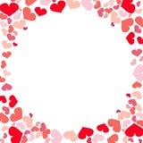 Hearts frame border illustration; romantic design. Stock Image