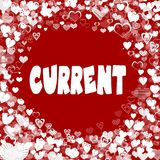 Hearts frame with CURRENT text on red background. Stock Image