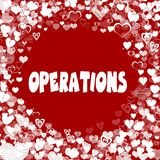 Hearts frame with OPERATIONS text on red background. Illustration Stock Photo