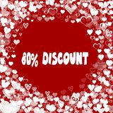 Hearts frame with 80 PERCENT DISCOUNT text on red background. Illustration Royalty Free Stock Image