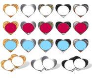 Hearts - frame stylish. Set of stylish hearts - frame (gold, chrome, glaze Stock Photography