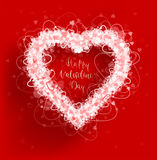 Hearts frame Valentine`s day vector background. Vector illustration Stock Image