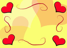 Hearts Frame_Yellow Royalty Free Stock Image
