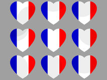 Hearts with the French flag. Vector Royalty Free Stock Photos