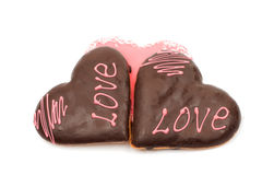 Hearts frosting cookies Stock Photos