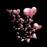 Hearts Galore over Black Royalty Free Stock Photo