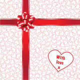 Hearts with gift bow Stock Photo