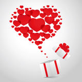 Hearts from gift box Stock Photography