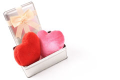 Hearts in a gift box Royalty Free Stock Images