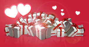 Hearts and gift boxes 3d render. Design Stock Image