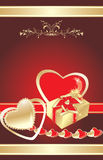 Hearts and gift. Decorative background for card Stock Image