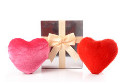 Hearts and gift Stock Photo