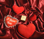 Hearts and a gift Royalty Free Stock Photos