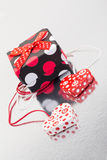 Hearts and gift Stock Images