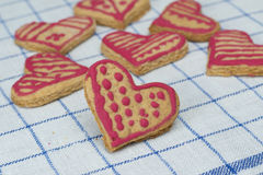 Hearts Gingerbread home made cookie Stock Images