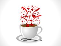 Hearts in glass. Firework with red hearts in coffee cup Royalty Free Stock Photography