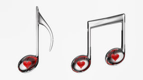 Hearts and Glass Transparent Musical Notes Stock Photo