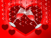 Hearts and glasses. Glasses of red wine on the background of streamers and hearts Stock Photo