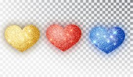 Hearts glitter texture set. Red, gold, blue Hearts Isolated. Symbol love heart shape isolated. Vector object for. Valentine s Day design, mockup. Vector vector illustration