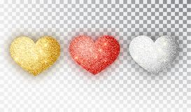 Hearts glitter texture set. Red, gold, silver Hearts Isolated. Symbol love heart shape isolated. Vector object for. Valentine s Day design, mockup. Vector royalty free illustration