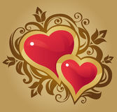 Hearts in gold Stock Image
