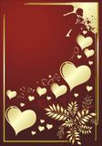 Hearts of gold. On a red background with an ornament Royalty Free Stock Image