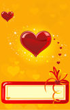 Hearts on a gold background Royalty Free Stock Photography